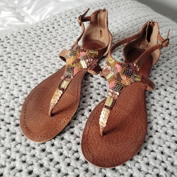 Sequin embellished brown sandals